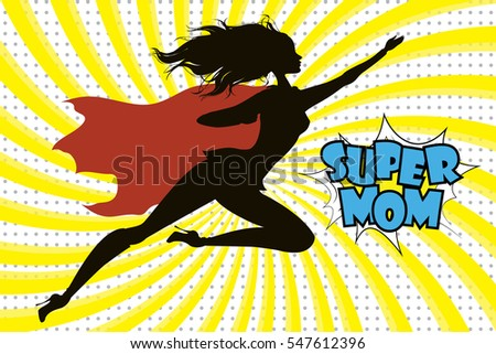 Super Hero Mommy silhouette and text in retro comic style.Stock vector illustration
