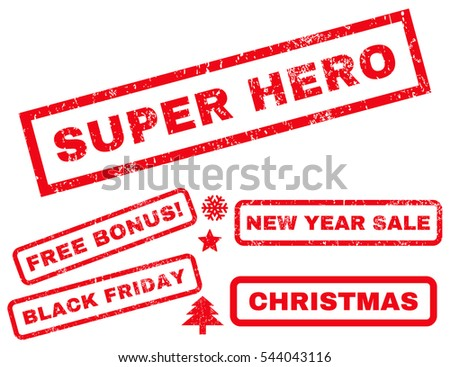 Super Hero rubber seal stamp watermark with bonus banners for Christmas and New Year sales. Text inside rectangular shape with grunge design and dust texture. Vector red emblems.