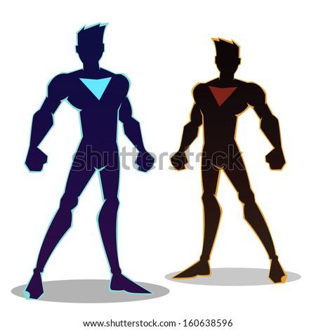 Super hero silhouette in different color, vector illustration - stock vector