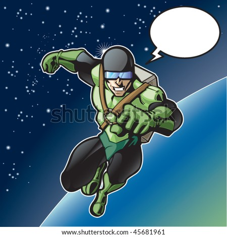 Super hero with rocket pack above a planet. - stock vector