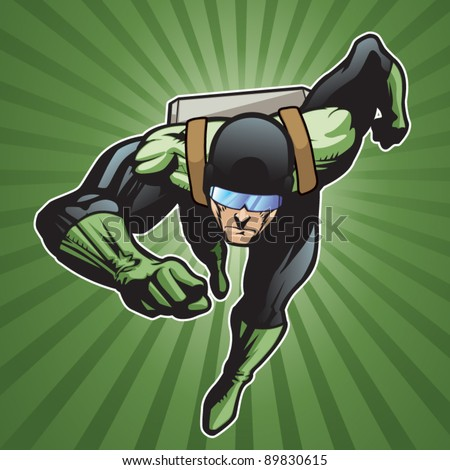 Super hero with rocket pack running forward. - stock vector