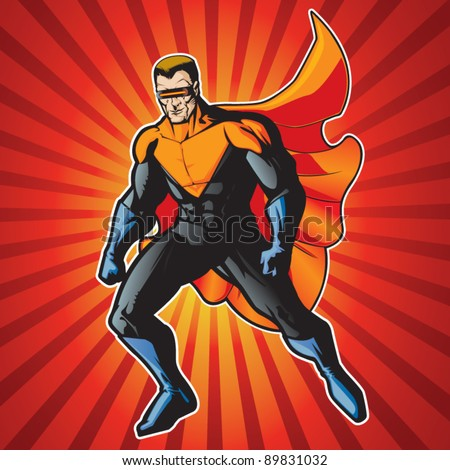 Super hero with visor getting ready for action. - stock vector