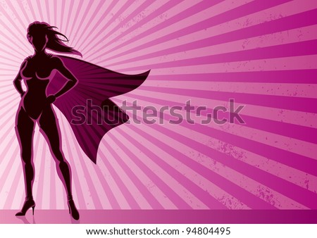 Super Heroine Background: Super heroine over grunge background with copy space.  No transparency used. Basic (linear) gradients. A4 proportions. - stock vector