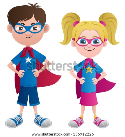 Super Kids: Illustration of 2 super kids: Super boy and super girl. No transparency used. Basic (linear) gradients. - stock vector