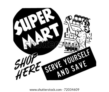 Super Mart - Retro Ad Art Banner - stock vector
