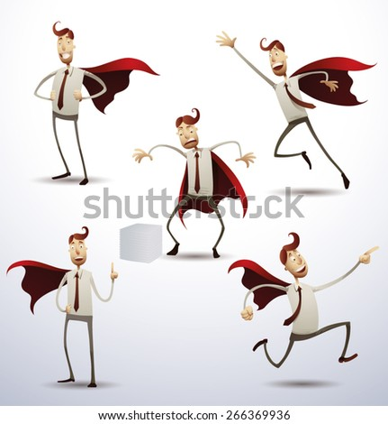 Super office man set, vector - stock vector