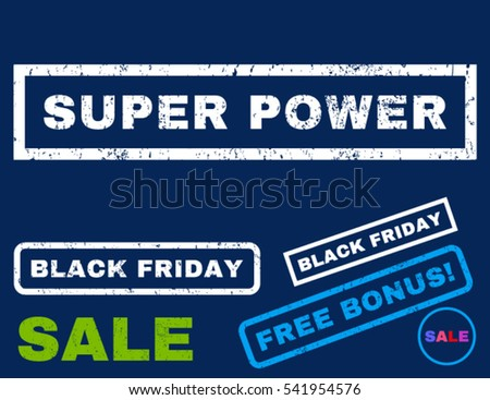 Super Power rubber seal stamp watermark with additional images for Black Friday offers. Vector bright multicolored emblems. Tag inside rectangular banner with grunge design and dust texture.