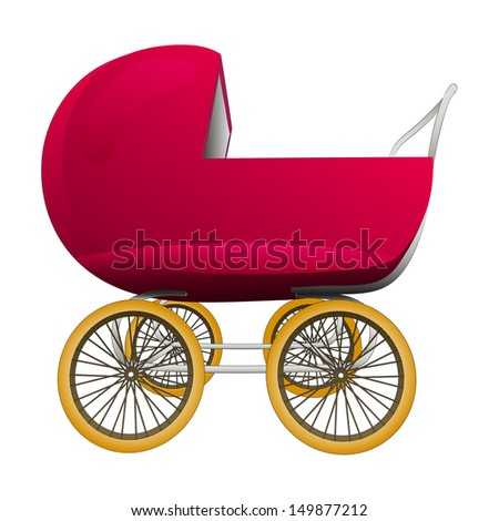 super retro red baby carriage vector illustration - stock vector