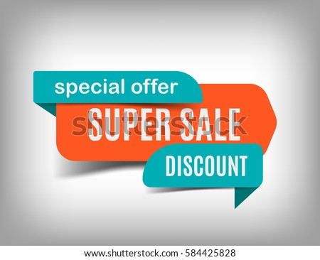 Super sale banner discount tag special offer website sticker on a gray abstract