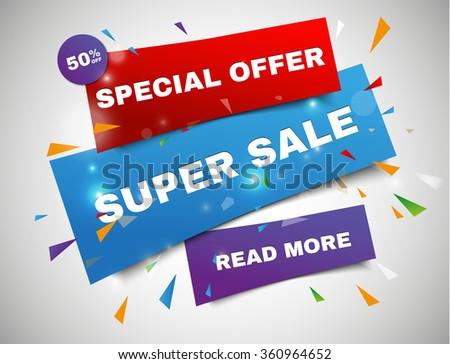 Super Sale paper banner. Sale background. Super Sale and special offer. 50% off. Vector illustration - stock vector