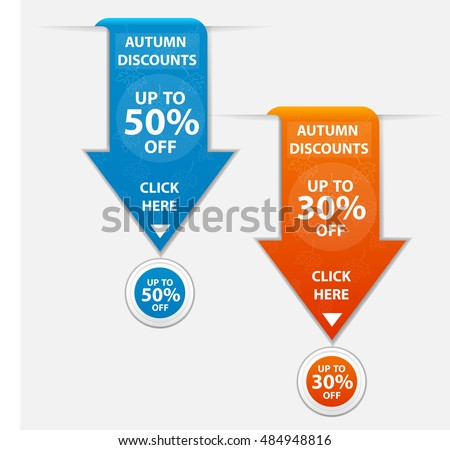 Super Sale, the arrow points to the button banner, -50%, -30% off. Vector illustration.