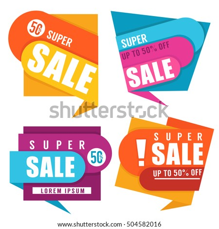 super sale, vector collection of bright discount bubble tags, banners and stickers