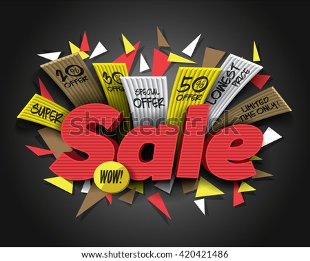 Super Sale with abstract triangle elements. Sale background. Sale tag. Sale poster. Sale vector. Vector illustration. - stock vector