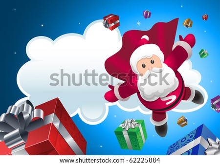 Super Santa Claus coming from sky with christmas presents. All elements are layered and grouped in vector file. - stock vector