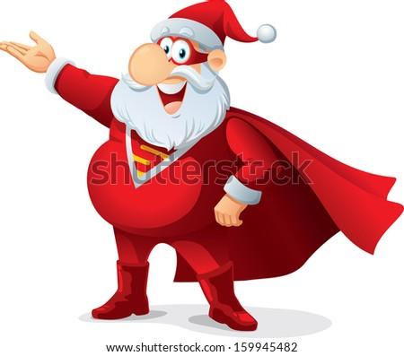 Super Santa - Vector Cartoon - Santa Claus as a superhero, wearing a mask and cape. File type: vector EPS AI8 compatible.  - stock vector