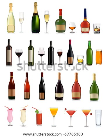Super set of different bottles, drinks and cocktails. Vector illustration.