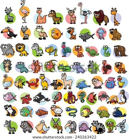 Super set of vector cute cartoon animals  - stock vector