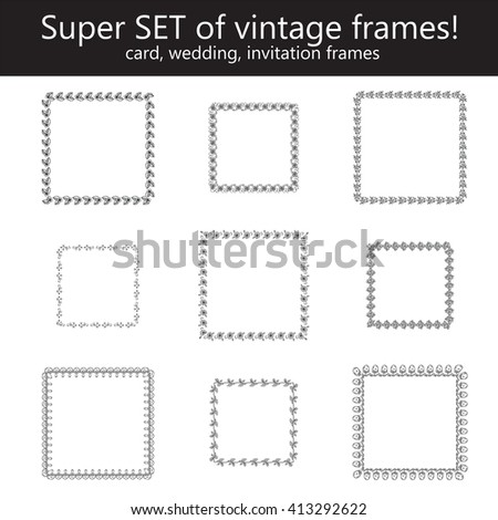 Super set of vintage frames! 9 rustic wedding, invitation frames from herbal, flower, grass, branch and leaves elements, round, square, rectangle form corner. Black line on white background