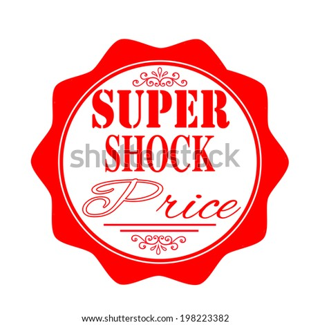 super shock price  stamp with on vector illustration