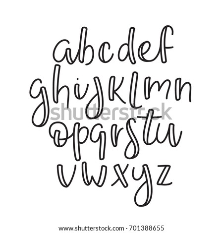 English Line Alphabet Thin Outline Lowercase Typographic Typeface Font
