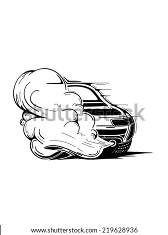 Super sport car with the smoke behind it illustrated on the white background.