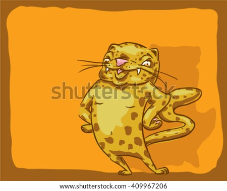 Super stylish cat in a cool attitude- style vector illustration isolated on orange background - Sign
