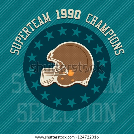 Super team champions illustration label, with retro colors.