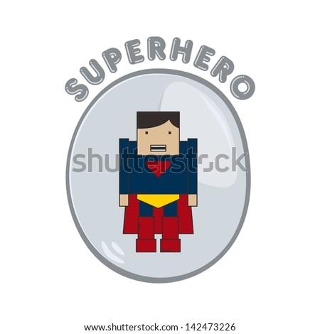 super warrior hero fly red blue - stock vector