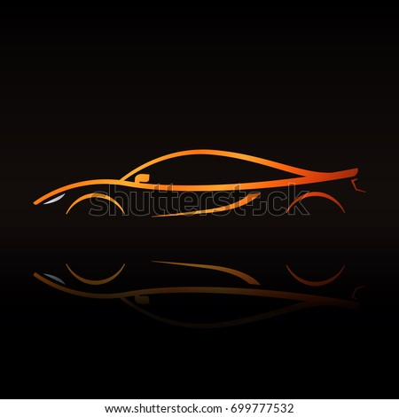 Orange Sport Car Silhouette Reflection On Stock Vector