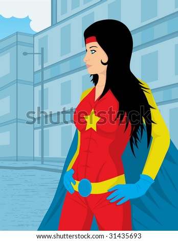 supergirl protecting the city and the people - stock vector