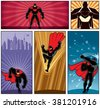 Superhero Banners 5: Set of 5 superhero banners. No transparency or gradients used. - stock vector
