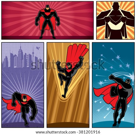 Superhero Banners 5: Set of 5 superhero banners. No transparency or gradients used.