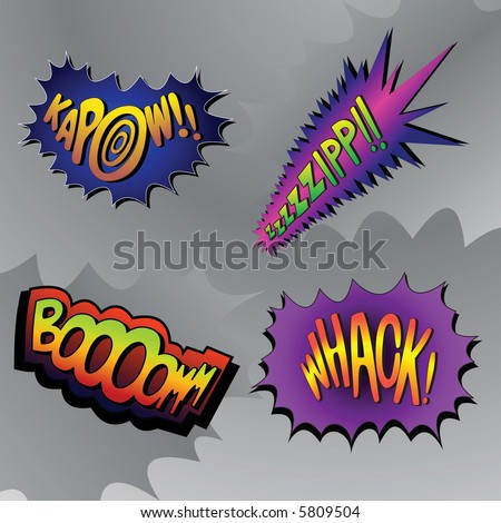 Superhero bashing #4 - comic fighting bubbles of super heroes - stock vector