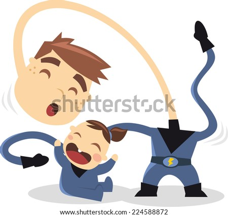 Superhero brothers playing with hero powers, with blue superhero costume and thunder belt vector illustration. - stock vector
