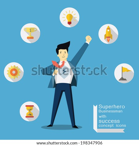 Superhero businessman with success and vision concept icons, trendy flat design.  - stock vector