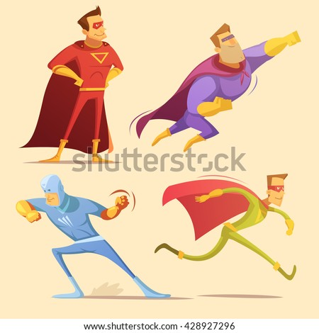 Superhero cartoon icons set with superman on yellow background isolated vector illustration  - stock vector