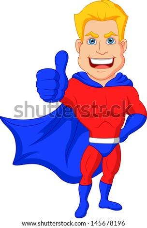 Superhero cartoon with thumb up - stock vector