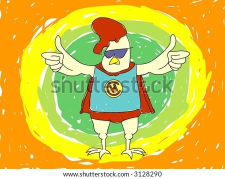 Superhero Chicken - stock vector