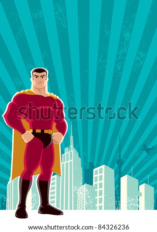 Superhero City: Superhero over a grunge background with copy space.  No transparency and gradients used. A4 proportions. - stock vector