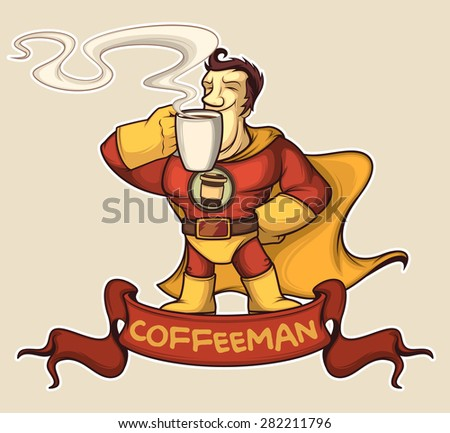 Superhero coffee-man in a suit is enjoying a coffee