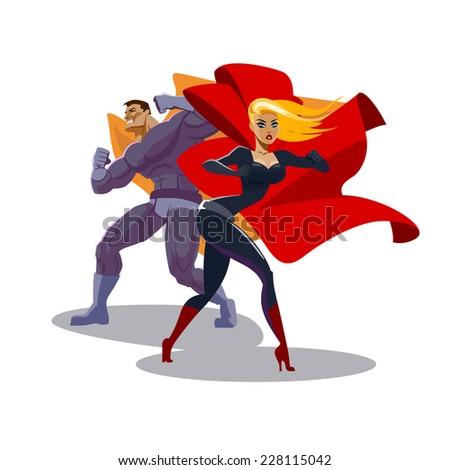 superhero couple male female superheroes look stock vector royalty