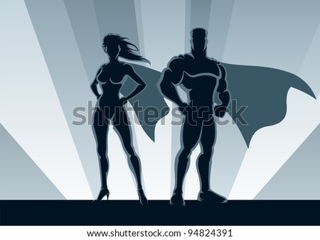Superhero Couple: Male and female superheroes, posing in front of a light. No transparency used. Basic (linear) gradients used for the background. A4 proportions. - stock vector