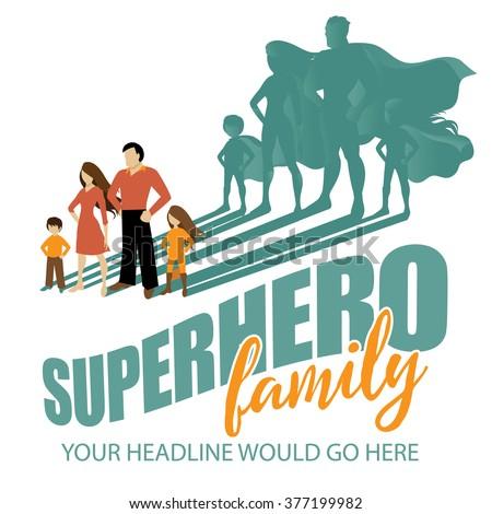 Superhero Family background EPS 10 vector - stock vector