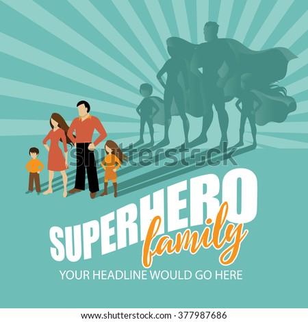 Superhero Family burst background EPS 10 vector - stock vector