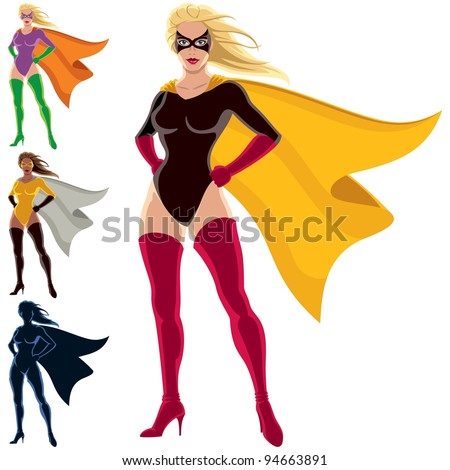 Superhero - Female: Female superhero over white background. She is in 4 different versions, one of them is a silhouette. You can remove the mask from her face in the vector file if you want to. - stock vector