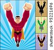 Superhero Flying: Superhero in action. 3 additional versions of the illustration are also included. A4 proportions. No transparency and gradients used. - stock photo