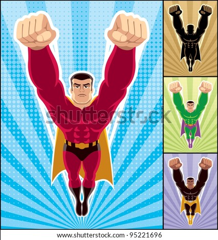 Superhero Flying: Superhero in action. 3 additional versions of the illustration are also included. A4 proportions. No transparency and gradients used. - stock vector