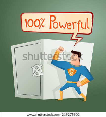 superhero guarding a deposit box - stock vector