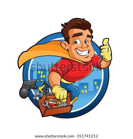 Superhero handyman  - stock vector