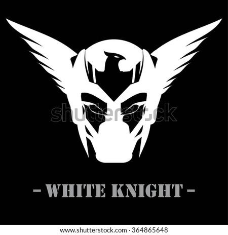 Superhero Head Winged White Mask Knight Stock Vector Royalty Free